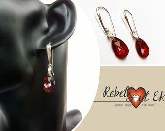 Sterling silver red crystal Light earrings, hallmarked silver, dangle Earrings, Silver Drop, Swarovski earrings, 925 silver, Solid silver