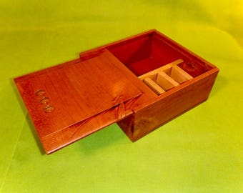 Unusual Wood Box With Sliding Lid - Solid Wood - Nicely Finished