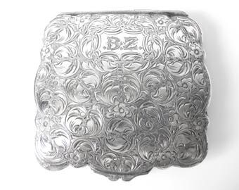 Czech Art Nouveau style 900 Silver Engraved Compact With Mirror Monogrammed BZ