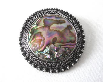 1000 Silver Filigree Brooch Pendant Set With Abalone Made In Jerusalem