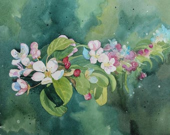 Original watercolour of Spring flowers, Spring blossom, apple blossom, flower painting, watercolour of flowers, floral art, spring buds