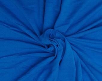 Bamboo Cotton Lycra Fabric Jersey Knit by Yard Marina Blue 4 Way Stretch 6/17