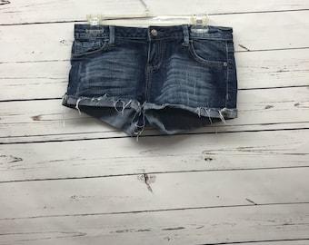 Vintage distressed denim blue jean shorts