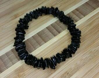 Black Puka Shell Bracelet- Black Seashell Bracelet - Black Bracelet- Black Surfer Bracelet Black Seashells Bracelet Hawaiian Bracelet Beach