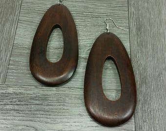 Brown Drop Earrings Brown Wooden Earrings Brown Wood Earrings Brown Dangle Brown Oval Earrings Rasta Earrings Ethnic Earrings Brown