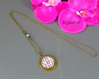 Long necklace * MOZAIC 2 * Cabochon 25 mm * blue and purple pattern