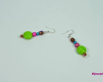 Whimsical earrings handmade with bright colors
