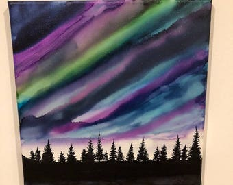 Alcohol ink original painting, painting on canvas, wall art, northern lights, Alaska art, aurora borealis, alcohol inks, winter sky, gift