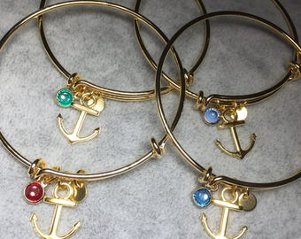 CELESTYNA 24K Gold Plated Bangle Bracelet in With Nautical Anchor Charm and Crystal