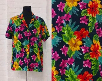 Colorful Flower floral pattern button up down top vintage Hawaiian shirt summer spring men's extra large made in Hawaii