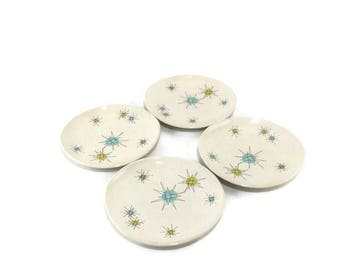 Vintage Franciscan Starburst 8 Inch Salad Plates* Atomic Age Plate * Mid Century Dishes * Set of 4