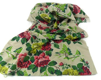 Vintage Barkcloth * Red Roses and Green Trees * Cotton Drapery Upholstery Fabric