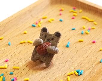 Handmade Sweets Deco Nut-Hugging Bear Brooch | Clay made Accessory