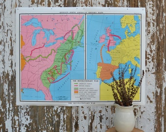 Vintage US School Map - Large Nystrom World History War Poster