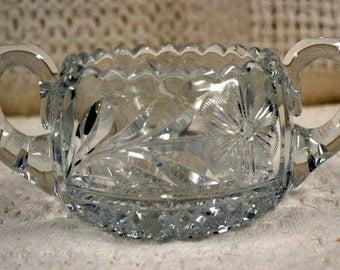 Pressed Glass Sugar Bowl, Glass Sugar Bowl, Sugar Bowl
