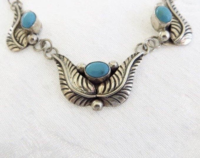 Navajo Sterling Necklace, Silver Turquoise Bib Necklace, Southwestern Style, Old Pawn