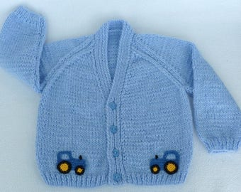 Baby sweater, Baby boy hand knitted baby cardigan in blue, to fit 9 to 12 month baby. Baby clothes, baby accessories, baby gift, baby shower