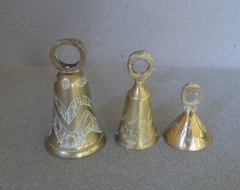 Vintage Brass Bells - Three Solid Brass Bells - Etched Brass Bells - Hanging Brass Bells
