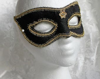 Black Brocade Mask With Gold, Black Satin Brocade Over Leather Masquerade Mask with Gold Trim