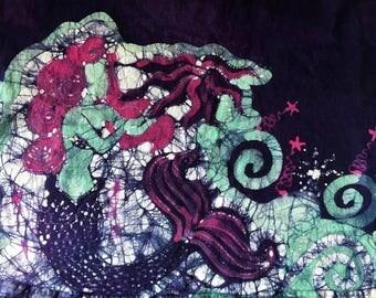 XLARGE - Hand Painted, Batik Dress, One of a Kind, Batik Mermaid Dress