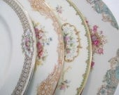 Vintage Dinner Plates Mismatched China for Dinner Party, Wedding, Bridal Shower, Bridal Luncheon, Wedding China, China Plates  - Set of 4