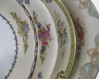 Vintage Mismatched China Soup / Salad Bowls - Set of 4
