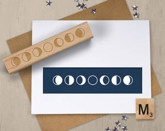 Moon Phase Stamp, Phases of the Moon Rubber Stamp, Moon Stamp, Moon Phase Art, Lunar Phase Stamp, Crescent Moon, Astronomy Stamp 075