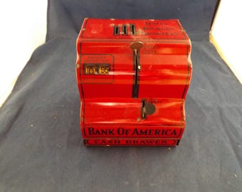Metal Bank of American Bank With Cash Drawer