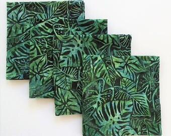 "Tropical Dinner Napkin Set, 4 Piece , 16"" Cloth Lunch Napkins, Philodendron, Housewarming Gift, Cotton Batik, Birthdays, Hostess Gift"