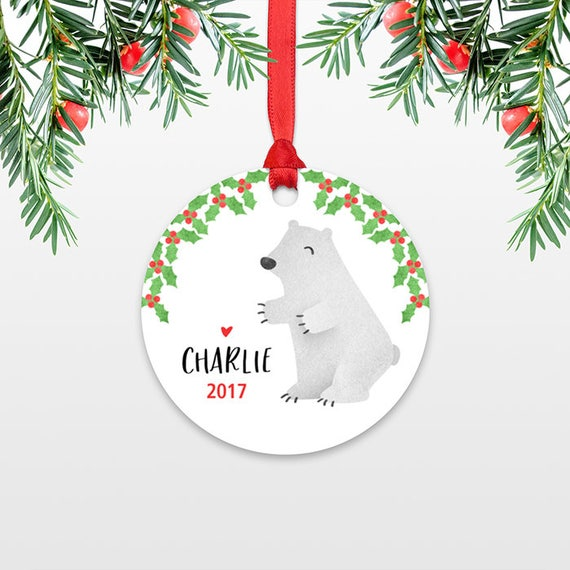 Polar Bear Kids Personalized Christmas Ornament Childs Name Christmas Ornament Stocking Stuffer for Kids Ornament Stocking Stuffer for Teens