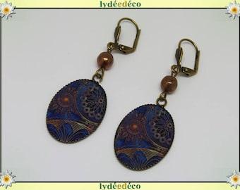 Earrings retro vintage rosette blue Brown resin bronze beads glass pendants 18x25mm