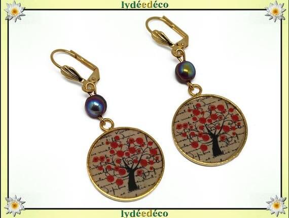 TREE OF LIFE Golden brass gold 24 carat 24 k tree of life earrings red poppy black beige resin resin glass beads.