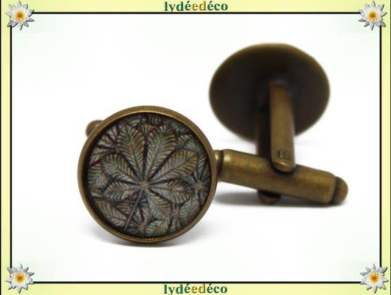 2 retro suit cuff links bronze resin leaf beige Brown tree brass 14mm