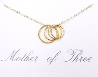 Mother Of Three Necklace, Mom Gift From Daughters, Mom Infinity Necklace, Three Sisters Infinity, 3 Daughters Jewelry, Rose Gold, Silver
