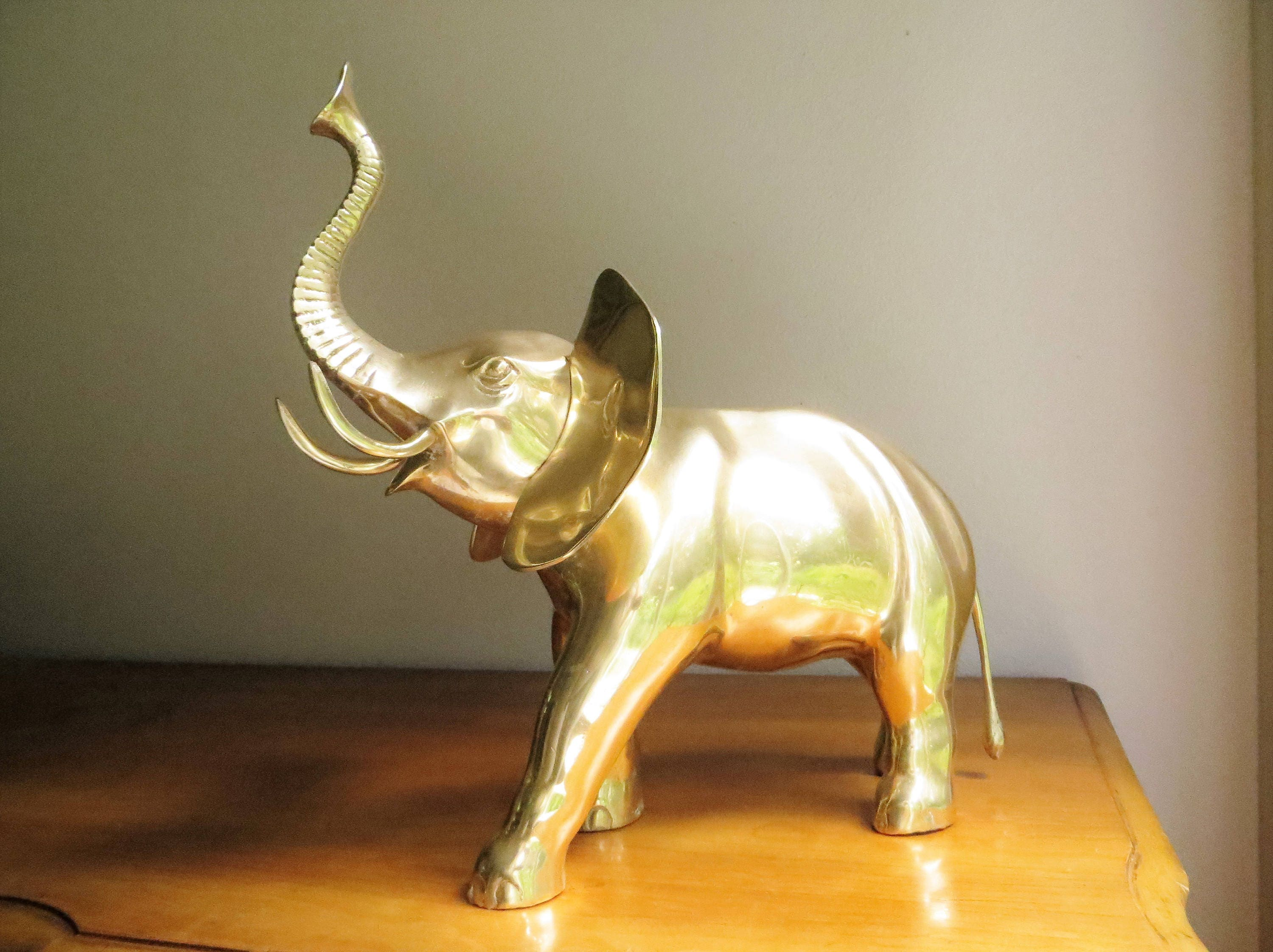 vintage large brass elephant figurine elephant statue. Black Bedroom Furniture Sets. Home Design Ideas