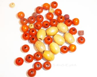 matching 45 x assorted color wooden beads