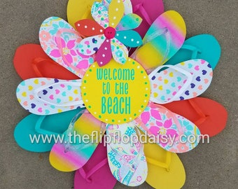 "Adorable ""Welcome to the Beach"" Flip Flop Wreath Wall Door Decor Beach Ocean"