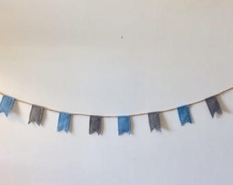 Sky blue and grey bunting