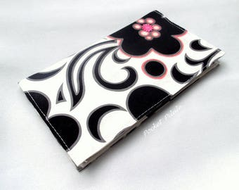 "Checkbook ""Poetic"" cotton black white and pink"