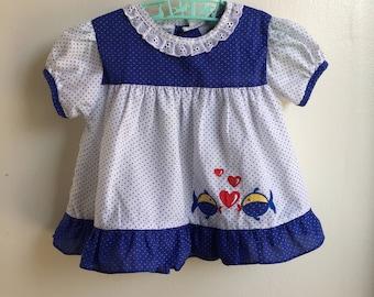 VTG Basic Editions Baby Girl Dress Fish Blue Whire Sz 24M