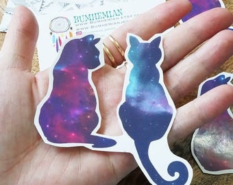 STICKERS // Cosmic Cats Sticker, Cat / Kitten, Semi Gloss In-door Use, Stationary Stickers Book Decor, Handmade + Cut, Organizer Stickers