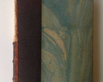 Marbled French Book, 1910, Chantecler, Play in 4 Acts, Edmond Rostrand, Beautiful Turquoise Covers, Leather Partial Spine, Covering, Display