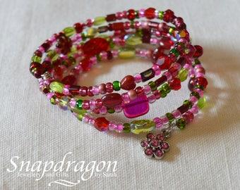 Strawberry fields memory wire bracelet