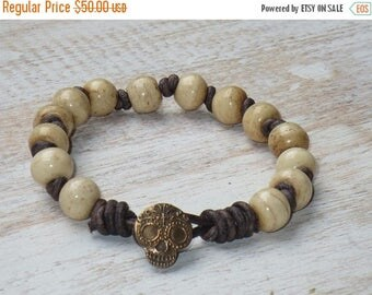 ON SALE Boho Chic Simplistic Bone Bead with Sugar Skull Button Hand Knotted Leather Bracelet
