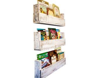 Nursery Bookshelves 28 Inch (Set of 3) - Whitewash