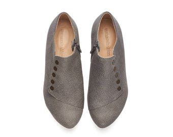 Gray shoes, Grace, Handmade flat leather shoes
