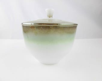 1950s Ombre - Green to Bronze Tone Bowl With Lid - From 'Federal Glass' - Great Shape - White Milk Glass Bowl With a Lid