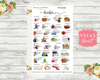 WH12 Celebrate December Planner Stickers - National Holiday Stickers - Special Days Stickers - Wacky Holiday Stickers - Holiday Stickers