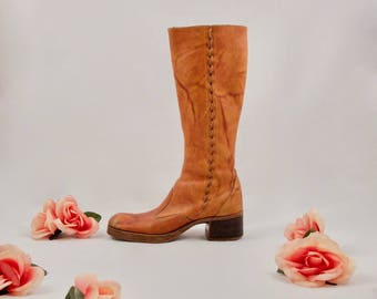 70s leather boots / tall leather boots / campus boot / bohemian boots / hippie boots / tan leather boots / western / distressed boots
