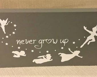 Never grow up, Disney, Peter Pan, Tinkerbell, Neverland, Nursery sign, gift, box sign, home decor, ready to ship